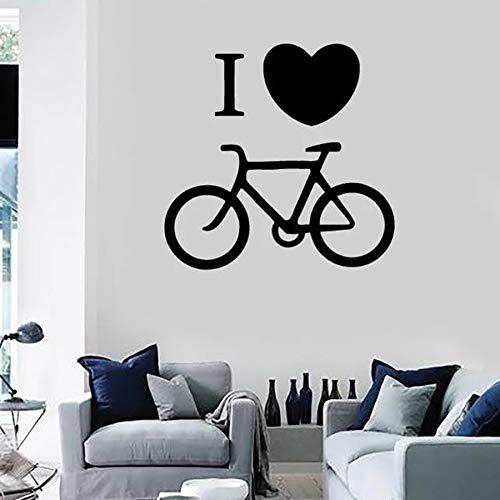 Me encanta la bicicleta calcomanía de pared deporte bicicleta ciclismo arte murales sala de estar dormitorio decoración del hogar corazón creativo pegatina de pared calcomanías A6 30x30cm