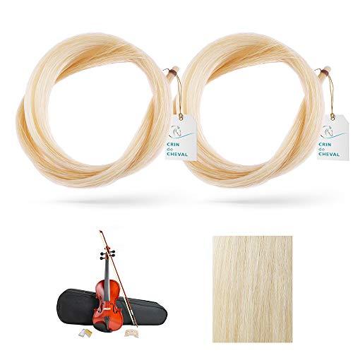 2 Hank/Pferdehaarstäbe für Violinenbogen, AAA Qualität – aus Mongolien – unbehandelt – 20 g – ca. 78 – 80 cm – natürliches weißes Rosshaar