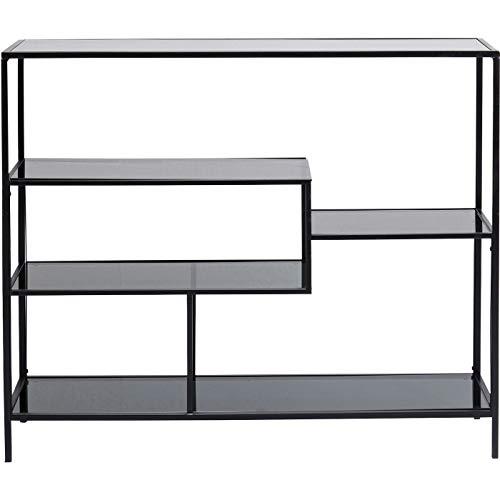 Kare Design Regal Loft 100cm, offenes Wandregal im Industrie-Stil, Bücherregal aus Glas und Stahl, edler Raumtrenner für Wohn -und Esszimmer, TV - Board (H/B/T) 100x115x30cm