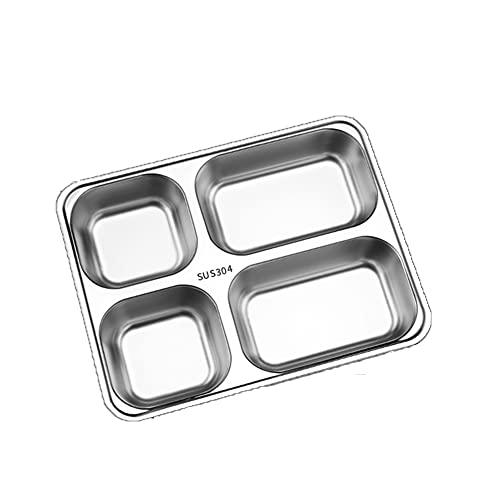 ZHMEHE Bandeja De Servicio De Comida De Acero Inoxidable Cantimplora Adecuado para Comedor Escolar, Comedor De Empresa, Restaurante De Comida Rápida.
