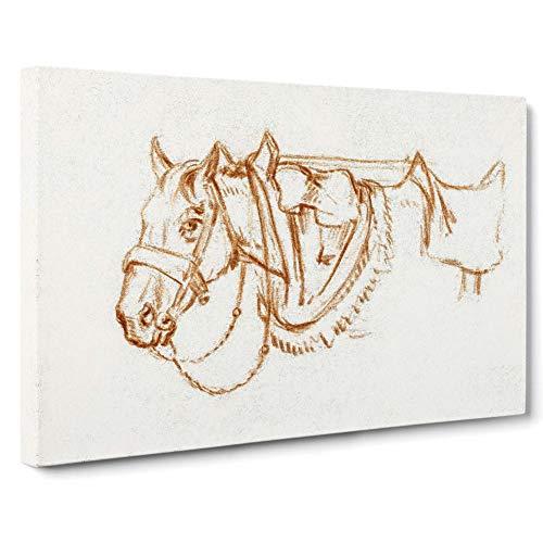 BIG Box Art Leinwanddruck Wandbild | Rigged Horse von Jean Bernard | Vintage Home Decor Kunstwerk für Wohnzimmer, Schlafzimmer | Weiß Gelb Braun Creme, Canvas, farbig, 30x20 Inch