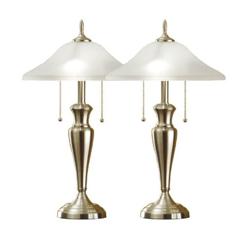 Artiva USA - Juego de 2 lámparas de Mesa de Acero Cepillado con Pantallas de Vidrio Martillado de 24 Pulgadas