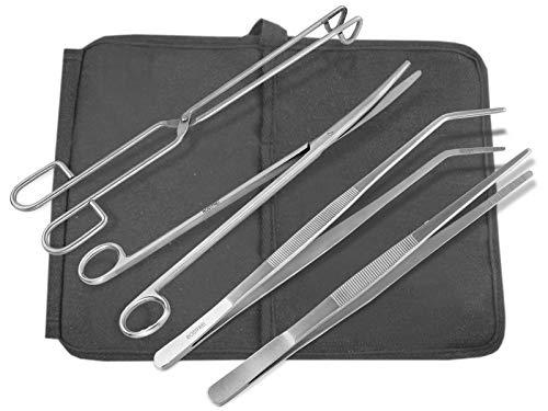 InstrumenteNrw Edelstahl BBQ Grill Werkzeug Set Grillzange Grillpinzette 30 cm Fleischzange Wurstzange Schere