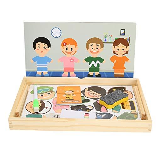 DAUERHAFT Tablero de Rompecabezas magnético de Madera Multiusos Tablero de Dibujo de Doble Cara magnético Colorido fácil de Transportar, Tablero de Rompecabezas de Madera para Dibujar para niños
