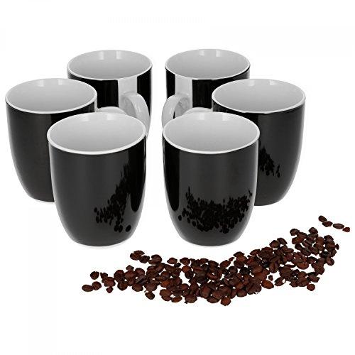 Van Well Vario 6er Kaffeetassen-Set I Porzellan-Tasse groß - in div. fröhlichen Farben I pflegeleichtes Tassen-Set - für Spülmaschine & Mikrowelle geeignet I 300 ml Kaffeebecher Schwarz 6 Stück