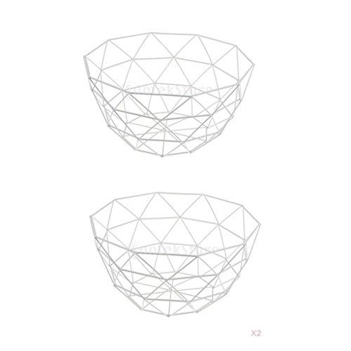 MagiDeal 2 Pcs Fil Fruits Panier Bol Nourriture Servant Plat Bonbons Biscuit Snack Tray Vert - blanc, 27 x 14 cm