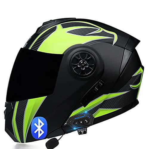 Casco de Moto Modular Bluetooth Integrado con un Micrófono Incorporado Anti Niebla Visera Doble Adultos Hombres Mujeres Cascos Moto ECE Homologado I,M=57~58cm