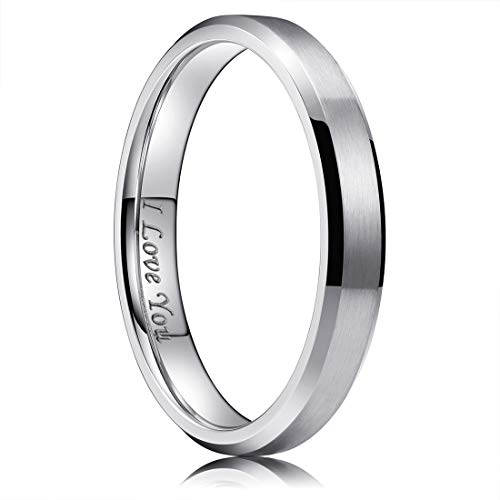 King Will 4mm Stainless Steel Ring Matte Finish & Polished Beveled Edge with I Love You 6