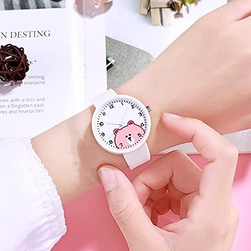 Msltely Relojes de Pulsera 2022 Nuevo 1 PC Niños Relojes niños niñas Lindo Caricatura Oso Silicone niños Relojes Mujeres señoras Cuarzo Relojes de Pulsera Regalos Reloj Regalo (Color : White)