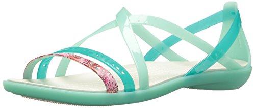 Crocs Women's Isabella Cut GRPH Strappy SNDL Flat Sandal, New Mint/Oyster, 11 M US