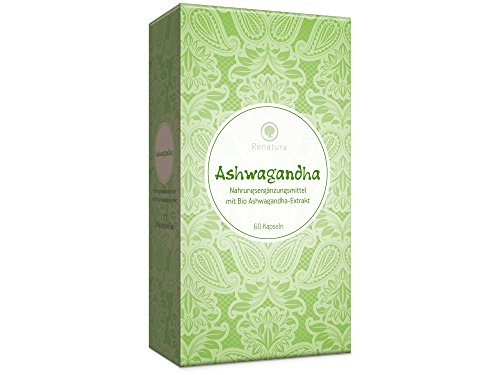 Ashwagandha Kapseln Bio • 1000 mg pro Tagesdosis mind. 5% Withanoliden • Winterkirsche Schlafbeere Extrakt Pulver, 60 Stück