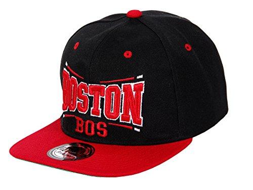 Snapback Basecap Starter Hat Hip Hop Cap Schirmmütze Baseballcap Baseball Mütze Kappe, Farbe wählen:Cap-30 BOS schwarz rot