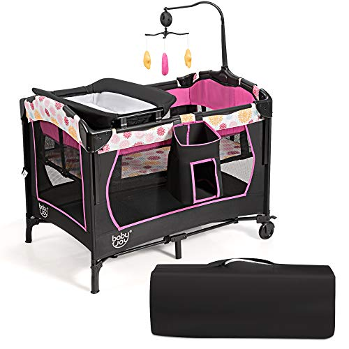 COSTWAY 3 in 1 Portable Travel Cot, Foldable Baby Bedside Bassinet and Activity Playpen with Changing Table, Mattress, Music Box, Wheels & Brakes, Carry Bag (Black+Pink)