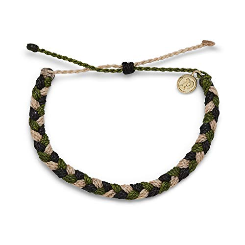 Pura Vida Camo Braided Bracelet - 100% Waterproof, Adjustable Band - Brand Charm, Multicolor