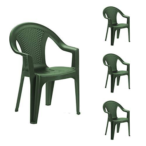 INDA-Exclusiv 4er Set Kunststoff Stapelstuhl Gartenstuhl Rattan-Optik Bistrostuhl Gartensessel stapelbar Balkonmöbel Gartenmöbel Grün Ischia