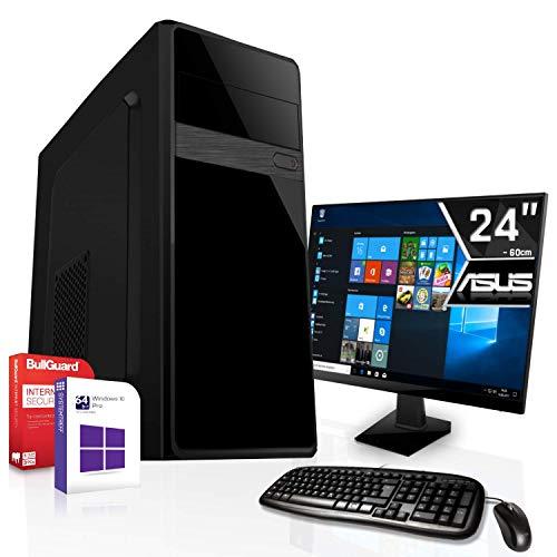 Komplett PC Set Office/Multimedia inkl. Windows 10 Pro 64-Bit! - Intel Celeron J1900 4X 2,42GHz - Intel HD Graphics - 24-Zoll TFT Monitor - 8GB DDR3 RAM - 120GB SSD 500GB HDD