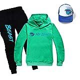 Mr Beast - Conjunto de sudadera con capucha y pantalones y sombrero para niños, verde, 12-13 años