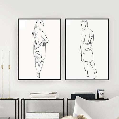 Nordic Salle De Bains Figure Ligne Nue Femme Nu Homme Corps Mur Toile Peintures Dessin Affiches et Impressions Décoration pour Salon No Frame-A_50X70cmX2