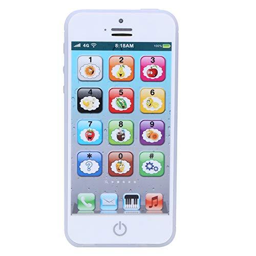 zhuolong Teléfono Juguete Jugar Música Aprender Inglés Teléfono Celular Educativo Móvil para bebés Niños Niños(Blanco)
