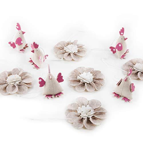 Logbuch-Verlag - Juego de 5 Colgantes de Tela y 5 Flores de Fieltro, diseño Vintage de Pascua, Beige y Rosa.