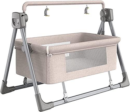 YQLWX Cuna mecedora eléctrica para bebé, mecedora mecedora de la cuna reclinable, mecedora automática, control remoto de música, canasta de dormir, rosa (color: gris) (color: caqui)