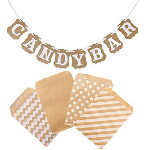 witgift Accesorios para decoración de candy bar, guirnalda de banderines + 100...