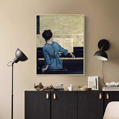 wZUN Vintage Tocando el Piano Pintura en Lienzo para niña Personaje Carteles e Impresiones Populares Cuadros de Arte de Pared para la decoración del hogar de la Sala de Estar 60X90 Sin Marco