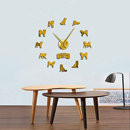 Reloj de pared Decoración familiar Etiqueta de la pared Regalo de vacaciones Akita Inu Breed Reloj de pared Cachorros Hakata Etiqueta de la pared Sin marco DIY Gran mesa Decoración de la habitación R