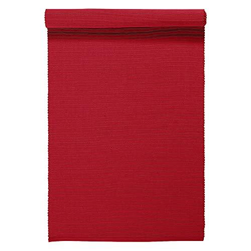 LINUM UNI Chemin de Table décoratif 45 x 150 cm en Coton côtelé, Lavable en Machine, Rouge