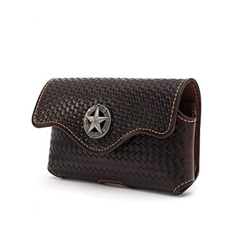 Herren-Handy-Holster aus echtem Leder, perfekt zum Tragen von iPhone/Samsung, Magnetverschluss, Large, Kaffee Horizontal S