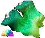 Winged Sirenny Adult 1.5m Belly Dance Worship Praise Silk Fan Veil Flag Streamer (Dark Green-Green-Yellow Green)