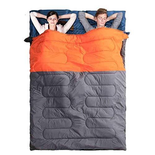 BABY Couple Sac de Couchage élargi épais Camping en Plein air Chaud intérieur Déjeuner Pause Adulte Double Sac de Couchage en Coton, Orange
