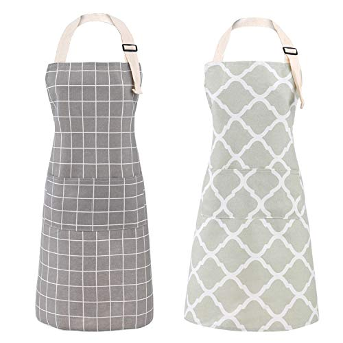 Tosewever 2 Pieces Cotton Linen Waterproof Bib Kitchen Apron with Pockets  Long Ties Adjustable Neck Strap  Unisex BBQ Cooking Drawing Crafting Aprons for Women Chef Grey/Green 2