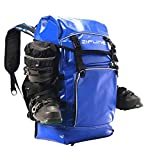 Zipline World Cup Ski Boot Bag Backpack – Waterproof Skiing and Snowboarding Travel Luggage – Stores Gear Including Jacket, Helmet, Goggles, Gloves & Accessories - 2019 Model (Blue)