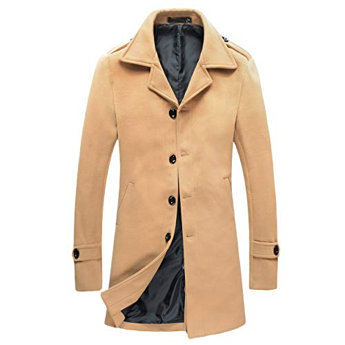 Mens Single Breasted Trench Coat Slim Fit Notched Collar Overcoat (5628 Camel, L)