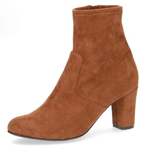 CAPRICE Damen Stiefel, Frauen Ankle Boots, knöchelhoch reißverschluss weiblich Ladies feminin elegant Women's Women,Cognac Stretch,37.5 EU / 4.5 UK