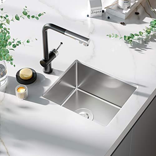 Bar Sink, TORVA 15 x 17 Inch Undermount Kitchen Sink, 16 Gauge Stainless Steel Wet Bar or Prep Sinks Single Bowl, Fits 18