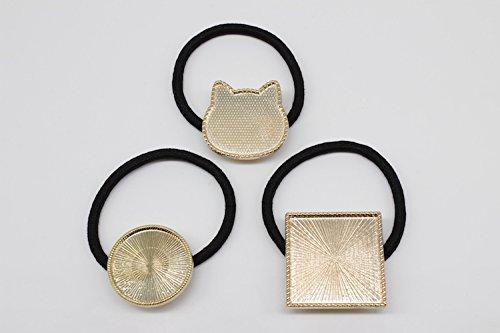 HAPPYCRAFT® ヘアゴム付き ミール皿 ゴールド 猫 丸 正方形 (正方形)