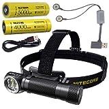 Combo: Nitecore HC35 Rechargeable LED Headlamp -2700Lm w/NL2150HPi & NL2140 Batteries +Eco-Sensa USB Charging Cord & A1 Charger