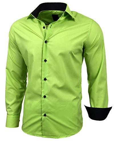Baxboy Herren-Hemd Slim-Fit Bügelleicht Für Anzug, Business, Hochzeit, Freizeit - Langarm Hemden für Männer Langarmhemd R-44, Farbe:Grün, Größe:L