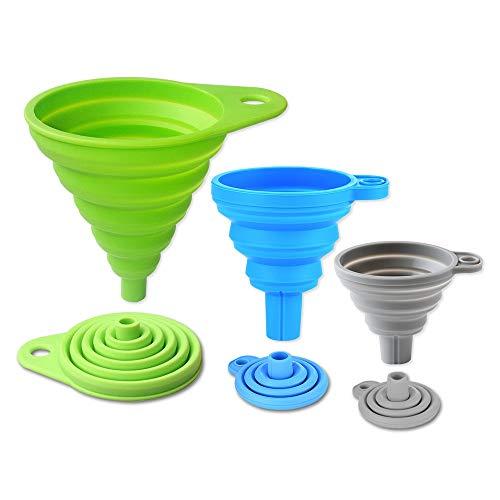 3 PCS Embudo de Silicona Colapsable, Pequeño, Mediano y Grande, Suave embudo de cocina plegable para el transporte de aceite, agua, polvo (Verde/Azul/Gris)