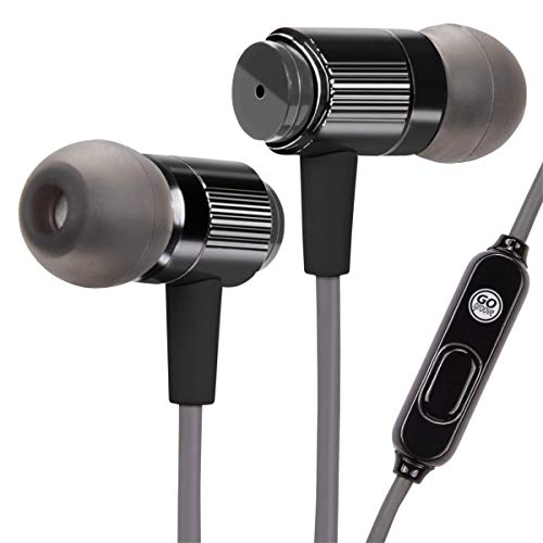 GOgroove AudiOHM RNF Durable Earbuds - Heavy Duty Headphones with Thick Aramid Fiber Reinforced Cable, in-Line Microphone, in-Ear Noise Isolation & Rugged Metal Driver Housing (Carbon Black)