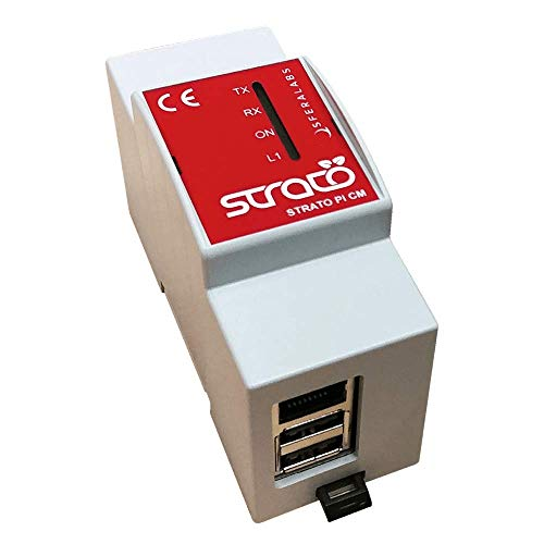 Sfera Labs Strato Pi cm Duo with Raspberry CM3+ 16GB - Dual microSD Card Slot, DIN-Rail Case, 10/100 Ethernet Port, RS-485, Real Time Clock, Hardware Watchdog