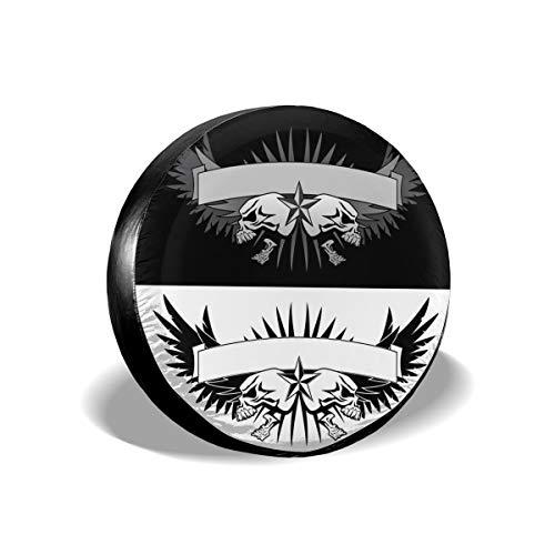Sula-Lit Autoreifen- und Radabdeckung, Totenkopf-Flügel, mit Banner, Tattoo-Stil, grafi, Ersatz-Radabdeckung, passend für Jeep Camper RV SUV LKW Radschützer Zubehör 38,1 cm