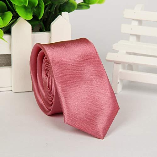Wangwang454 Lässige schmale Unisexversion, einfarbige Krawatte 145 * 5 cm, dunkelrosa