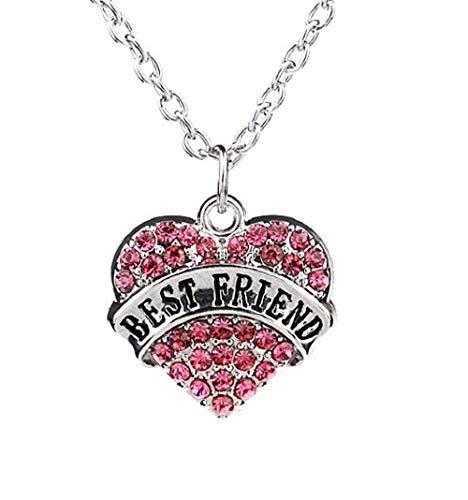 Inception Pro Infinite Collar con colgante – Corazón – Strass rosa – Texto – Best Friend – Mejores amigos – Idea regalo