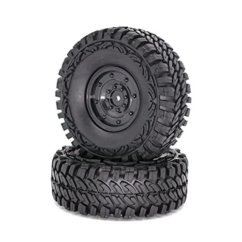 Tree-es-Life 1.9'1/10 RC Crawler Truck Wheels Neumáticos Llantas de Metal Beadlock y neumáticos de 115MM para RC Rock Car Accesorios Negro Cubo Cerrado