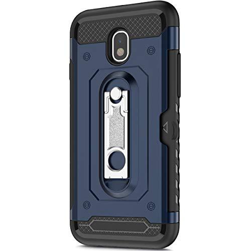 KunyFond Support Mobile Carte Credit Deux en un Gel Housse Étui Armure 2 en 1 Souple Flexible Mince PC+TPU Anti-chute Etui Bumper Case Cover Couverture Coque Compatible Samsung Galaxy J3 2018-Bleu