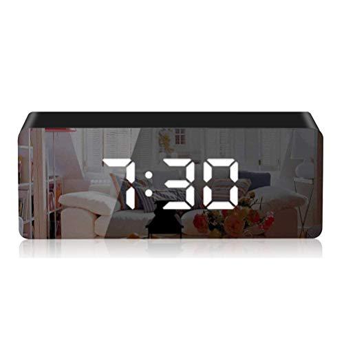 KKshop Sveglia Digitale, Sveglia da Comodino con LED Grande Schermo, Orologio a Specchio, Snooze, Sistema 12/24 Ore, per Camera da Letto, Ufficio