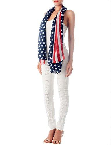 iB-iP Damen Amerikanische Flag Wunderschöne Leichtgewicht Weich lange Mode Schal, Größe: Einheitsgröße, Marine